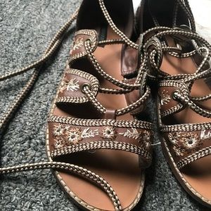 Embroidered Lace Up Sandals